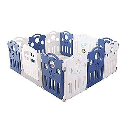 Baby Zaun Baby Spielzentrum für Kinder überall 12 Paneele mit Tür für drinnen/draußen (Farbe: Blau + Weiß)