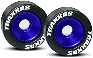 Traxxas 5186A Rubber Tires Mounted on Blue-Anodized Aluminum Wheelie Bar Wheels (pair)