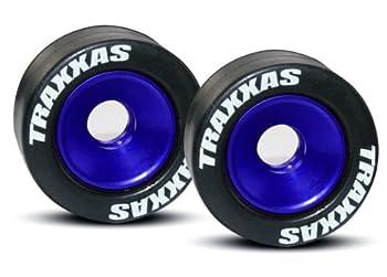 Traxxas 5186A Rubber Tires Mounted on Blue-Anodized Aluminum Wheelie Bar Wheels  pair