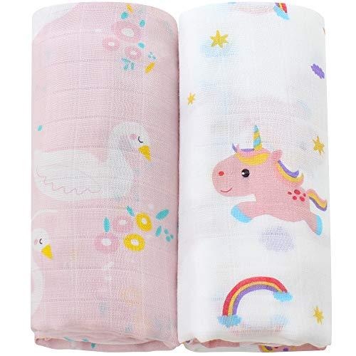LifeTree Baby Musselin Decke Bambus Baumwolle für Mädchen - 2 Stück Einhorn & Schwan Design Pucktücher Kuscheldecke Baby Sommer Baumwolldecke 120x120cm