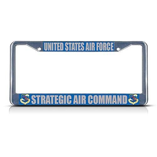 US AIR Force Strategic AIR Command Military Chrome Metal License Plate Frame Perfect for Men Women Car garadge Decor