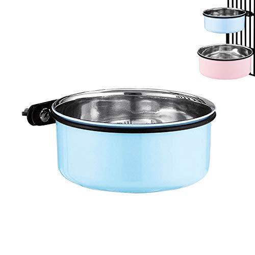 Cuencos colgantes para perro, tamaño mediano, de acero inoxidable, para colgar cajas y jaulas, cuencos de comida para perros y cuencos de agua (azul)