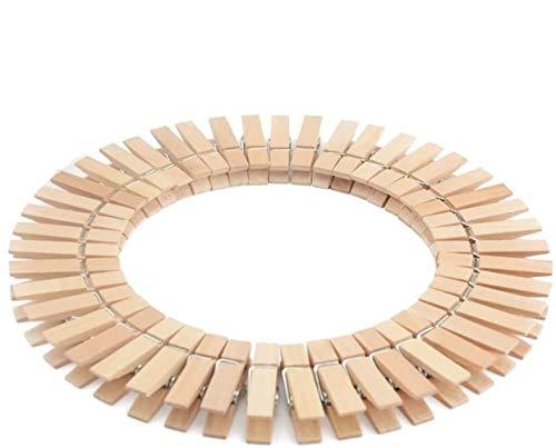 Voarge 50 pinzas de madera de haya con resorte en espiral extrafuerte, pinzas de madera para colgar la ropa adecuada para cualquier tendedero, estables y resistentes a la intemperie.