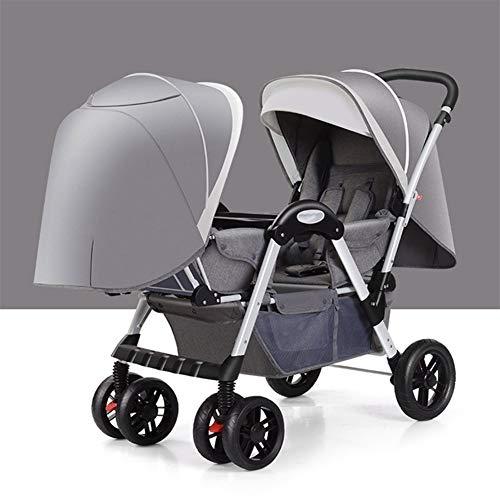 Doble cochecito de bebé desmontable Ligera Amortiguador bebé pueda sentarse mentira Doble Cochecito plegable de Neumáticos Cochecito (Color : Gray)
