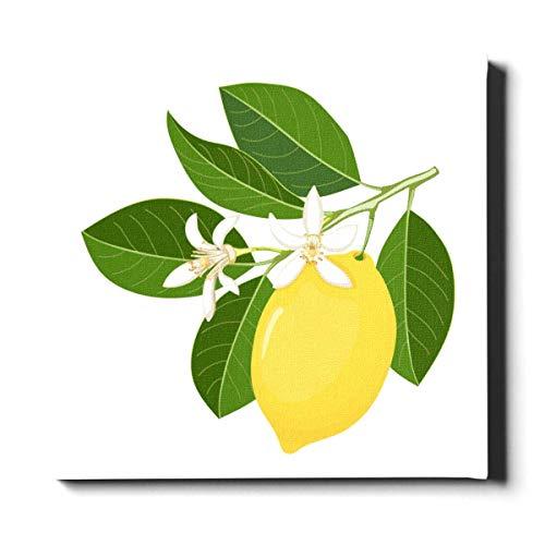 Mesllings Kitchen Art Wanddekoration, 30 x 30 cm, helles Gelb, Zitronengelb, frische Früchte, einzigartige Wandfarbe, Leinwand, dekoratives Gemälde, geeignet für Heimdekoration