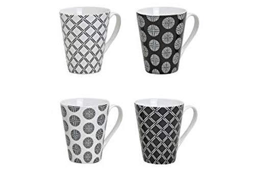 WOMA Kaffeetassen Set aus Porzellan - 4 Tassen - schönes Retro Design, 10cm hoch mit 250ml, schwarz/weiß