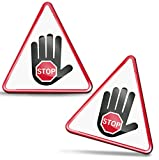 SkinoEu® 2 x 3D Gel Pegatinas Advertencia Seguridad Biológico Biohazard Toxico Precaución Detener Firmar Peligro Adhesiva Señal Riesgo Eléctrico Sécurité Radiactivos Símbolo Seguridad KS 129