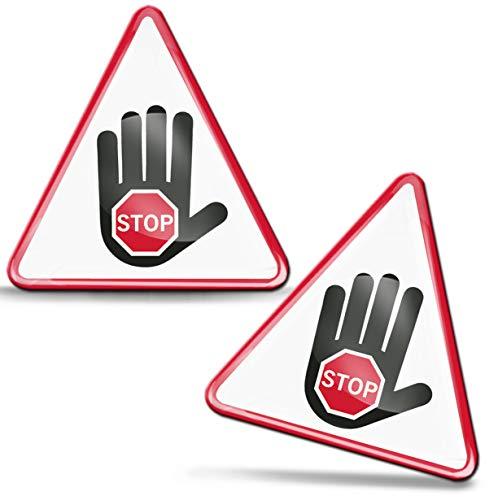 SkinoEu® 2 x sticker 3D gel silicone Waarschuwing waarschuwing hoogspanning stroom waarschuwingsbord gevarenzone hoog op hand alarminstallatie waarschuwingsbord hoogspanning Achtungsticker Biohazardsticker KS 129