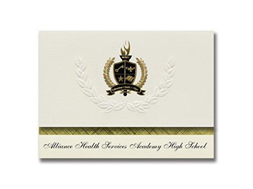 Signature Announcements Alliance Health Services Academy High School (Los Angeles, CA) Schulabschlussankündigungen, Präsidential-Packung mit goldfarbener und schwarzer Folienversiegelung