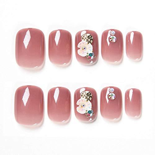 24 pcs/boîte premium couleur nude affichage détachable main blanc fini ongles lutin d'été portant des faux ongles japonais