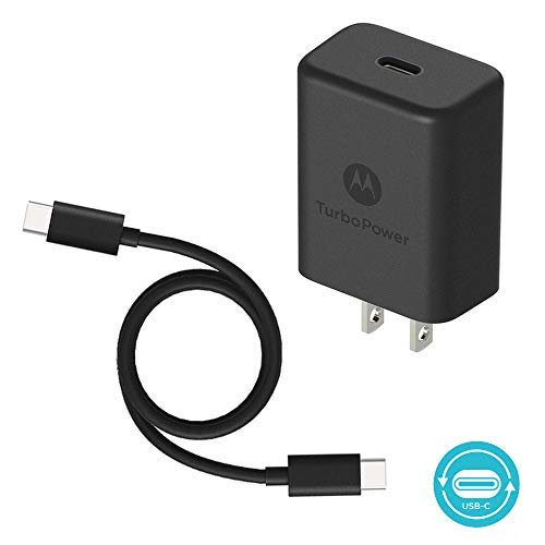 Motorola TurboPower 27 PD Charger w/ 3.3ft (1m) USB-C to C cable for Moto Z/Z2/Z3/Z4/X4/G7/G7 Play/G7 Plus/G7 Power/G6/G6 Plus[Not for G6 Play]- Power Delivery (Retail Box)