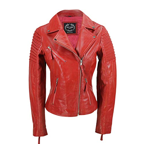 Xposed Chaqueta de motociclista para mujer, estilo vintage, ajustada, suave, de cuero auténtico, talla UK 6-24, color Rojo, talla Small
