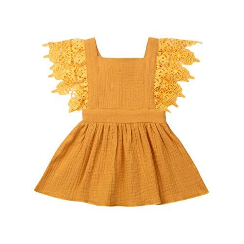 YQYJA Kleinkind Baby Mädchen Sommerkleid Ärmellose Plaid Print rückenfreie Spitze Kleid Baumwolle Freizeitkleider (Gelb, 9-18 Monate)