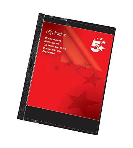 5 Star 200701 - Paquete de 25 carpetas dossier clip PVC A4, capacidad 30 hojas, color negro ⭐