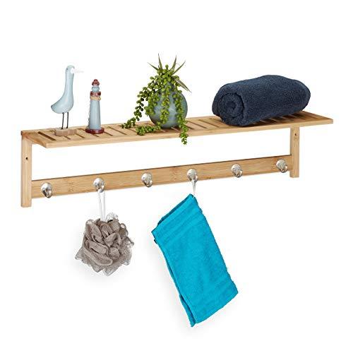 Relaxdays Wandhandtuchhalter mit Ablage, 6 Haken, Bad & Flur, schmal, Bambus, HBT: 18 x 75 x 16 cm, Wandgarderobe, Natur, 1 Stück