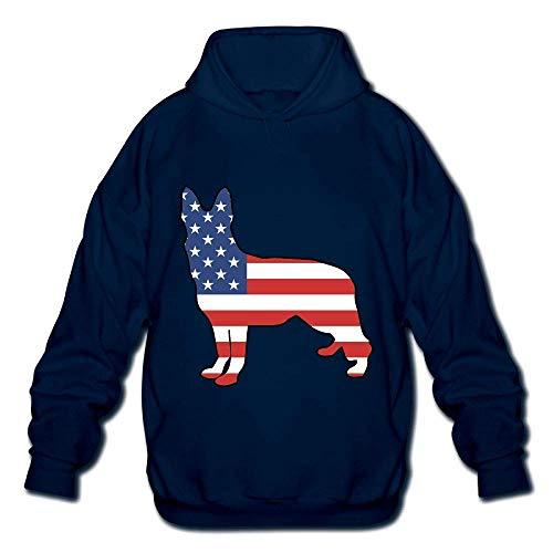 Jeffhd_tee German Shepherd American Flag Mens Printed Hooded Sweatshirt Hoodie