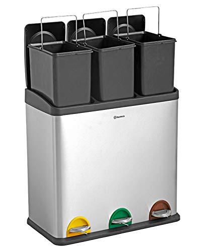 Homra Papelera de reciclaje con pedales de colores - 2 o 3 compartimentos - 30 L - 45 L - 60 L - Papelera separadora de residuos - Stephs 2 x 30 L
