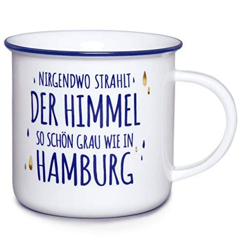 """Stadt-teile.de - Taza grande con texto en alemán """"Cielo"""" - de porcelana - hecha a mano en el norte - Incluye etiqueta de regalo con lazo de satén - 400 ml"""