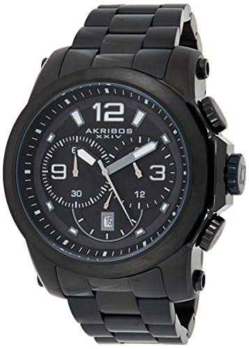 Akribos XXIV Men's 'Grandiose' Multifunction Watch - 3 Large Subdials with Date Window Black Dial On Black Stainless Steel Bracelet - AK631