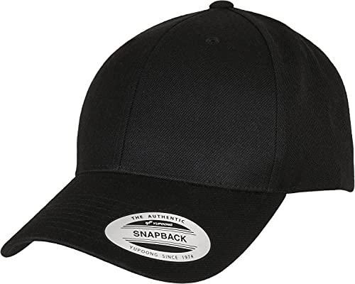 Flexfit Unisex Premium Curved Visor Snapback Cap Baseballkappe, Black, one Size