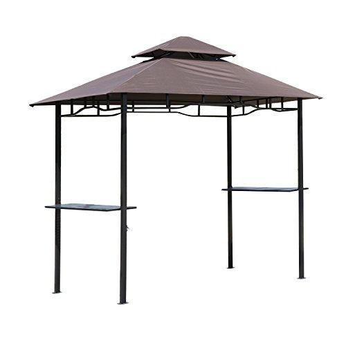 HOMCOM Pavillon abri tonnelle de Jardin pour Barbecue Double Toit 2 tablettes incluses Tissu Polyester Acier 2,45 x 1,48 x 2,55 m Chocolat
