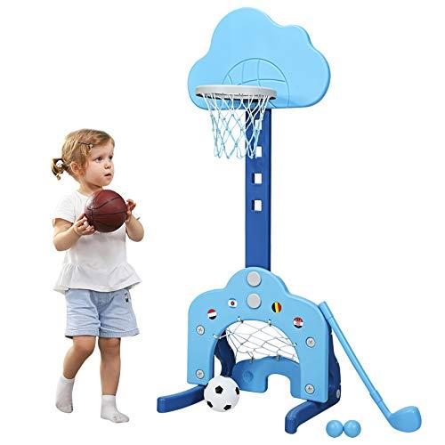COSTWAY 3 in 1 Kinder Spielplatz, höhenverstellbarer Basketballkorb & Fußballtor & Golf, Basketballständer inkl. Bälle und Golf Club, Korbanlage für Kinder von 2-7 Jahren (Blau)