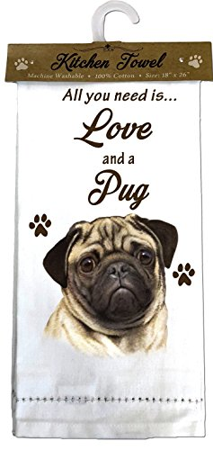 E&S Pets Pug, fawn Kitchen Towels, Off-white