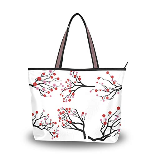Tote Bags Women Handbag Stylish Purse Casual Totes Large Capacity Top-Handle Bags for Outdoor Shopping Work School Travel Business Plum Blossom