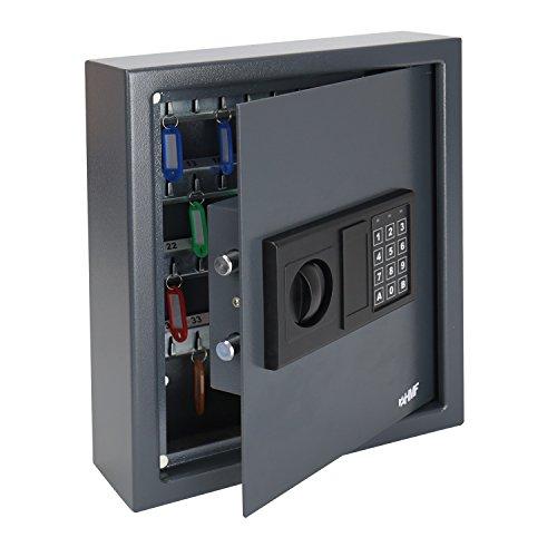 HMF 2048-11 Schlüsseltresor mit Elektronikschloss | 48 Haken | 36 x 30 x 10 cm | Anthrazit