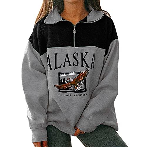 UMIPUBO Damen Sweatshirt Kapuzenpullover Alaska-Buchstaben Druck und Adler Muster Langarm Pullover mit Reißverschluss Lose Casual Top Hip Hop Hoodie(Schwarz ,L)