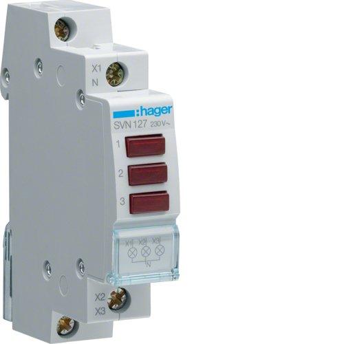 Hager LED-Leuchtmelder SVN127 3fach rot 230VAC