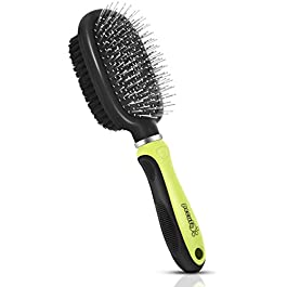Pecute Double Sided Pet Grooming Brush – 2 in 1 Pin & Bristle Soft Brush – Daily Use to Clean Loose Fur & Dirt – Great for Dogs and Cats With Short Medium Long Hair