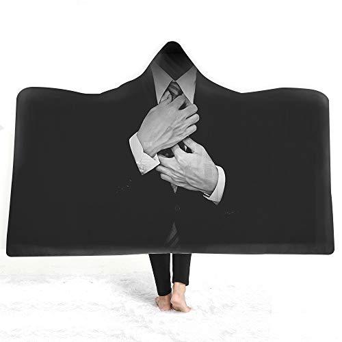 Zwarte man met capuchon deken, grappige mantel magische hoed dekens, voor dubbelzijdige Sherpa Koraal Fleece Sofa Cover Tv deken