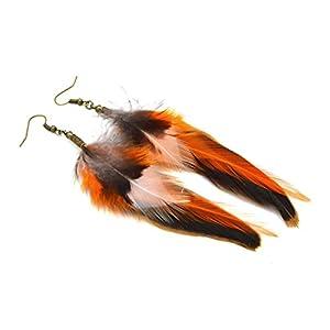 Isi braune natürliche Feder Ohrringe, multi-Feder, ethnischer Schmuck