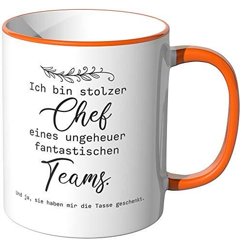 JUNIWORDS Tasse, Ich bin stolzer Chef eines ungeheuer fantastischen Teams, Wähle Farbe, Orange