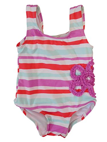 Infant Girls 1 Piece Swimming Suit Purple & Blue Stripe Butterfly Swimwear 12m