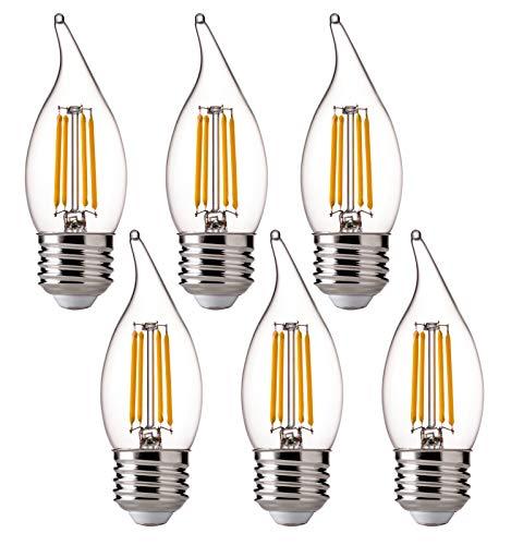 FLSNT LED 60 Watt Equivalent Chandelier Bulbs, 4.5 Watt Dimmable Filament Clear LED Candelabra Bulbs, E26 Medium Base CA11 LED Candle Bulbs, 2700K Soft White, 6 Pack