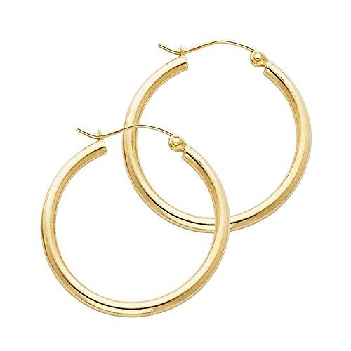 14 Karat 585 Gold Hochglanz Creolen Ohrringe Gelbgold - Breite 2 mm - Große Wählbar (28 Millimeter)