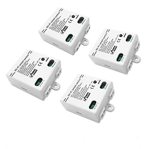 Módulo de relé inalámbrico para control remoto de interruptor de hogar inteligente, módulo de bricolaje universal para soluciones de automatización del hogar inteligente(4 Packs)