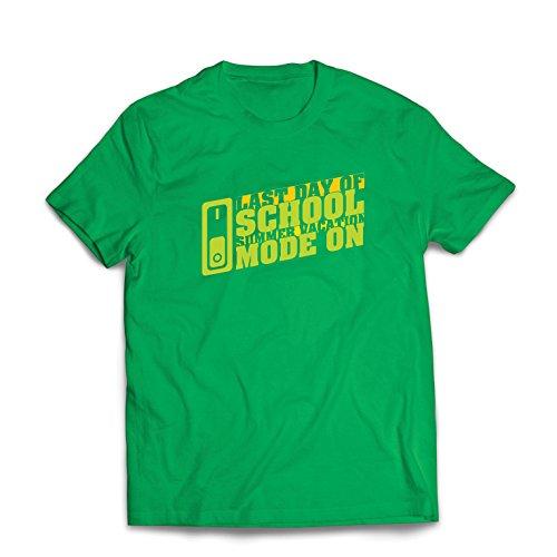 lepni.me Camisetas Hombre Último día de Clases, Modo de Vacaciones de Verano graduación (XXX-Large Verde Multicolor)