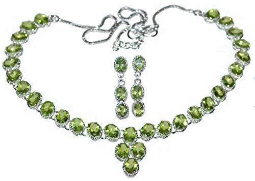 Sterlingsilber Halskette Ohrringe Set Peridot Natürlich Edelsteine 925 Schmuck, August Geburtsstein, Grüne Steine