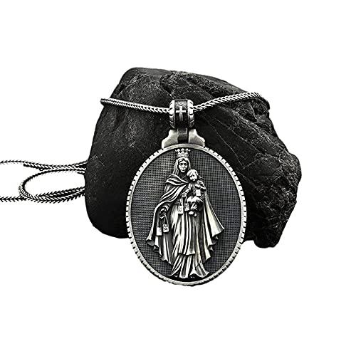 HHW Vintage Virgen María Abrazando Al Bebé Medalla Conmemorativa Cristiana Jesús Madre Colgante Collar Joyería Espiritual Religiosa Regalo Católico,D
