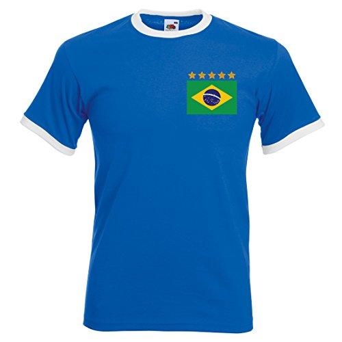 Herren Pele Brasilien Retro Away Fußball T Shirt Gr. Large, Royal Blue and White