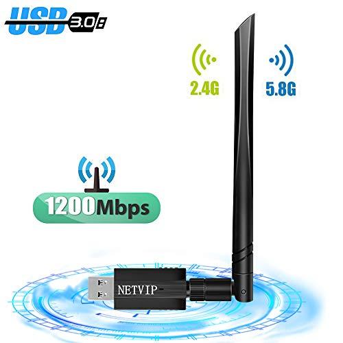 NETVIP WLAN Adapter 1200Mbit/s (5.8G/867Mbps+2.4G/300Mbps) WLAN Adapter USB3.0 Wireless Adapter WLAN Empfänger für PC/Laptop/Desktop/Windows/Mac OS X Mit Thermisches Design und 5dBi Antenne
