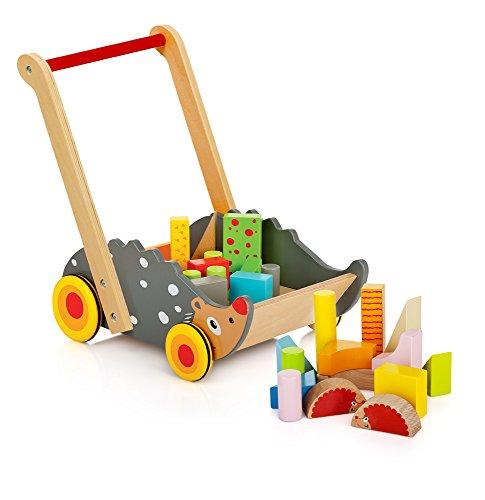 Leomark Lauflernwagen Holz Bausteine Wonder Walker Holz Lauflernhilfe Ab 1 Jahr Junge Mädchen Bunte Blöcke Gehversuchen Igeltier