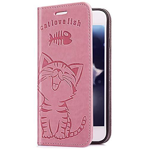 Uposao Upoao Kompatibel mit iPhone XS/iPhone X Ledertasche Leder Handyhülle Case Katze Muster Retro Lederhülle Flip Schutzhülle Handytasche im Bookstyle Cover mit Standfunktion Kartenfach,Rosa