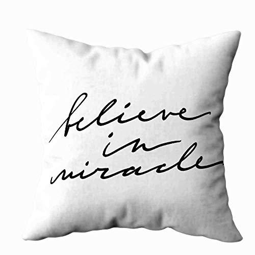 Funda de almohada para el hogar, 50,8 x 50,8 cm, con inscripción 'Believe in Miracle', frase inspiradora, superpuesta, decoración de almohadas, fundas de almohada con cremallera, fundas para sofá cama
