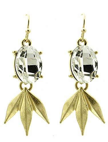 beyoutifulthings 1 par de pendientes para mujer de acero inoxidable, oro mate, piedra de cristal, incoloro, con colgante de tres púas, longitud 4,5 cm