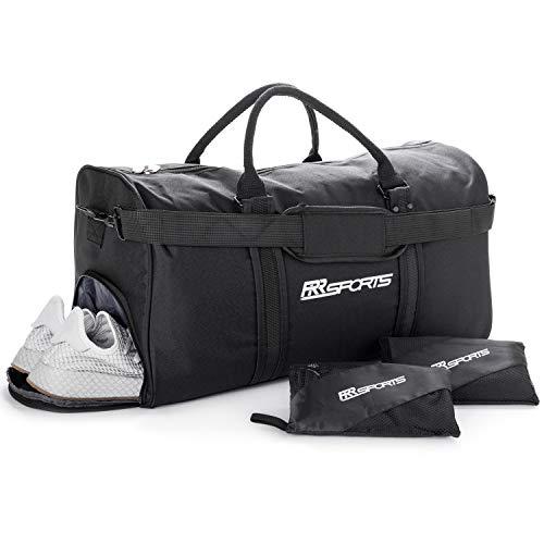 RR Sports - Sport Set aus Sporttasche mit Schuhfach und 2er Microfaser Sporthandtuch schwarz, Tasche für Damen & Herren, Trainingstasche für Fitness, Fitnessstudio, Gym & Fußball, Unisex Fitnesstasche