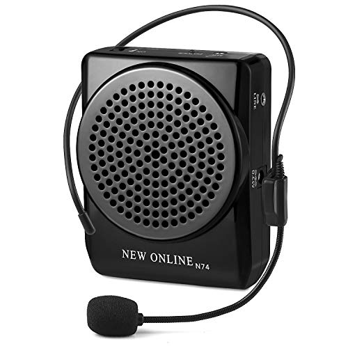 Preisvergleich Produktbild N74 Black Waistband Voice Amplifier Microphone Speaker Voice Amplifier 15watts Portable for Teachers,  Coaches,  Tour Guides,  Presentations,  Costumes,  Etc. Built-in Rechargeable Lithium-ion Battery,  Music Play Function Supports USB TF Card